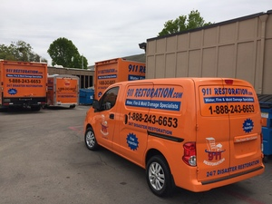Water Damage Restoration Fleet Outside Headquarters